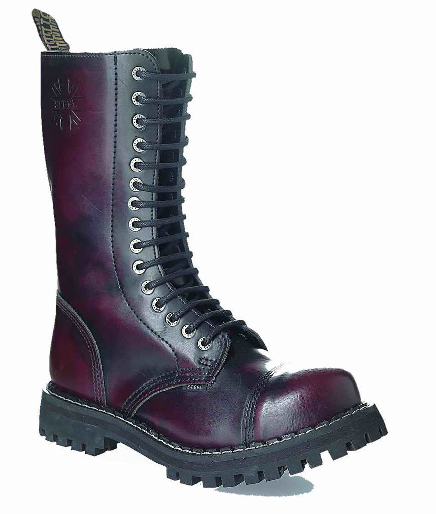 BURGUNDY RED 15-eyelet Boots Steel Toe