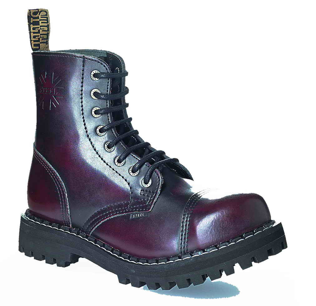BURGUNDY RED 8-eyelet Boots Steel Toe