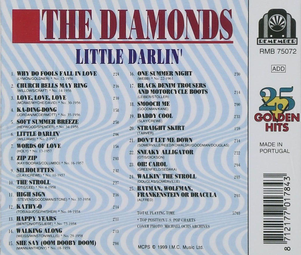 DIAMONDS (THE) - LITTLE DARLIN' - 25 Golden Hits Fantastic Collectible CD