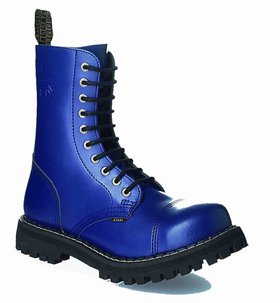 BLUE 10-eyelet Boots Steel Toe