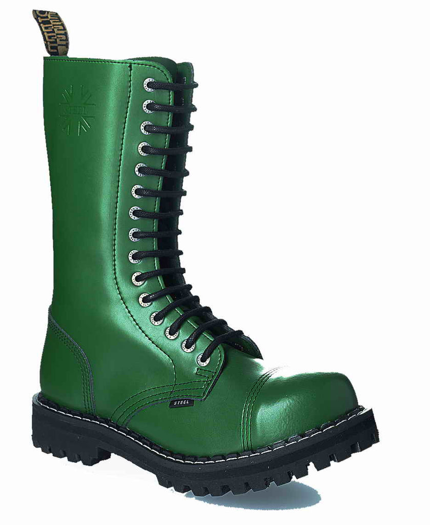 GREEN 15-eyelet Boots Steel Toe
