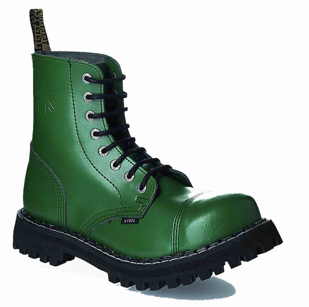 GREEN 8-eyelet Boots Steel Toe
