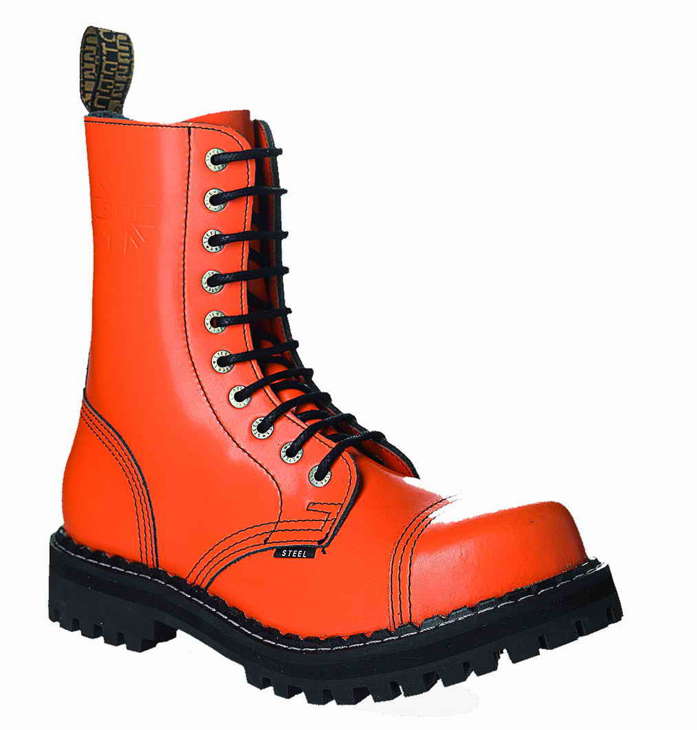 ORANGE 10-eyelet Boots Steel Toe