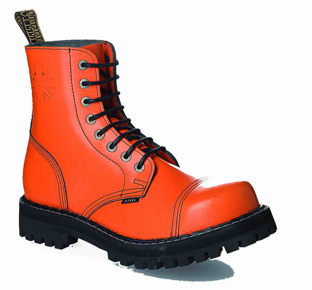 ORANGE 8-eyelet Boots Steel Toe