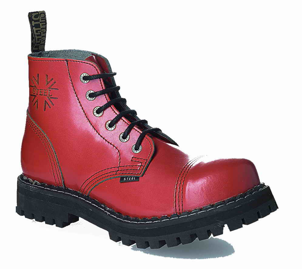 RED 6-eyelet Shoes Steel Toe