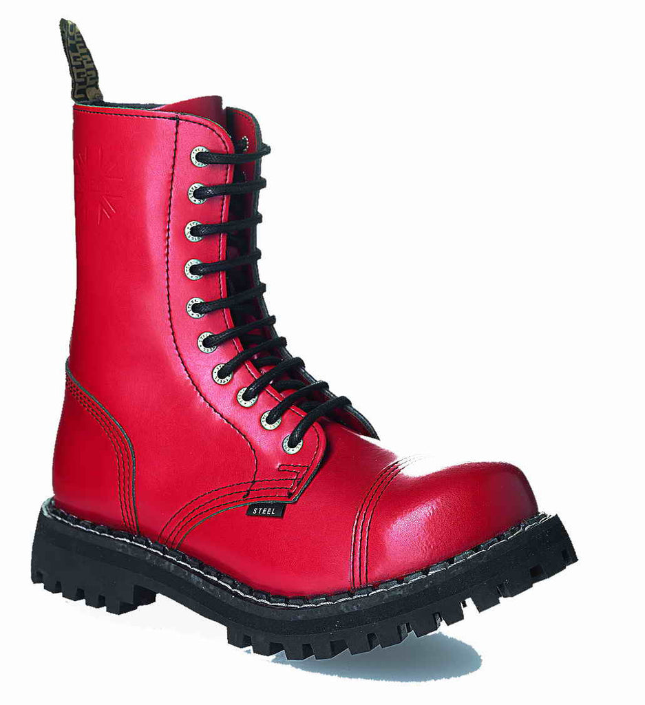 RED 10-eyelet Boots Steel Toe