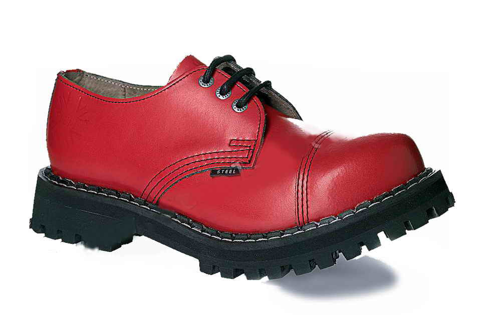 RED 3-eyelet Shoes Steel Toe