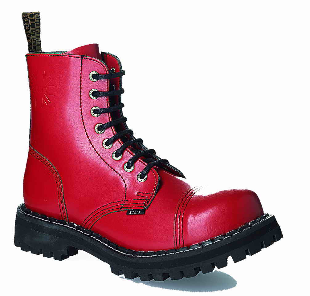 RED 8-eyelet Boots Steel Toe