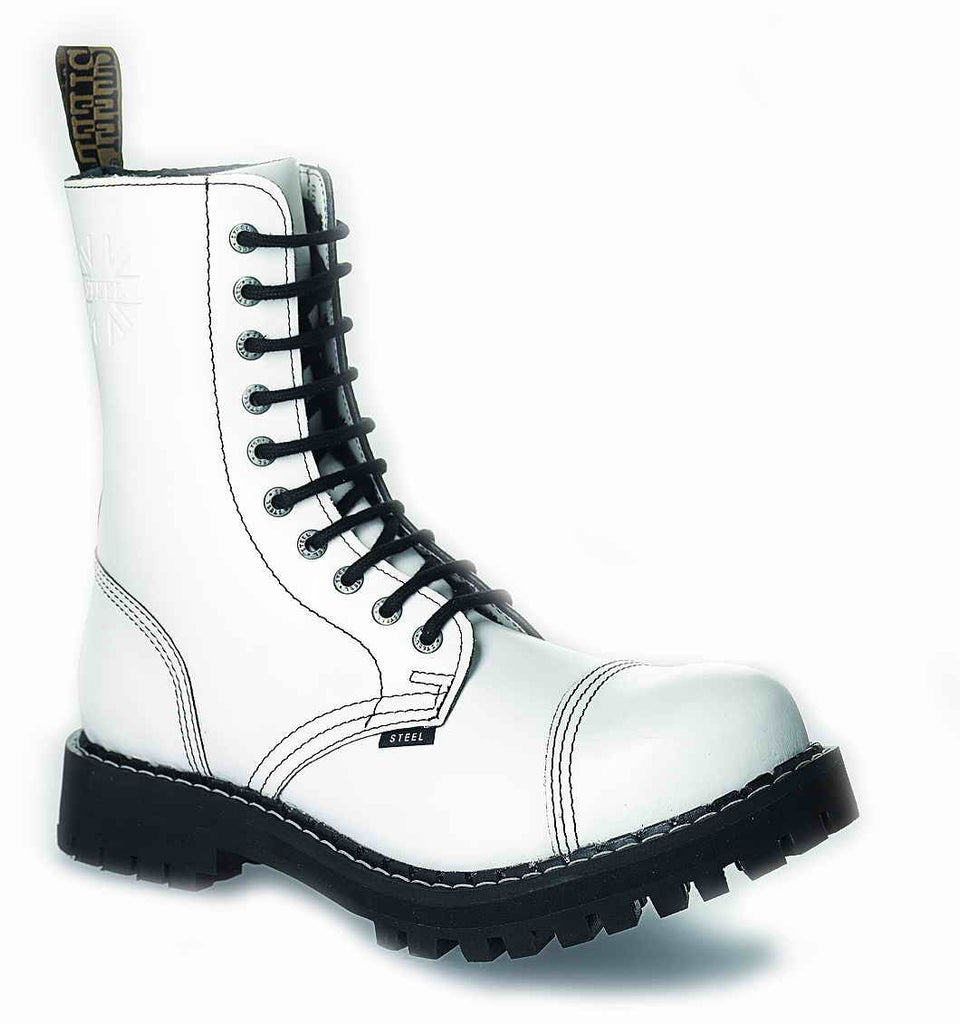 WHITE 10-eyelet Boots Steel Toe