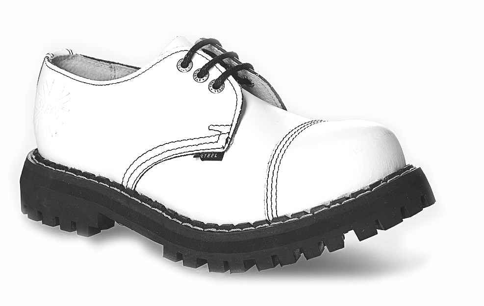 WHITE 3-eyelet Shoes Steel Toe