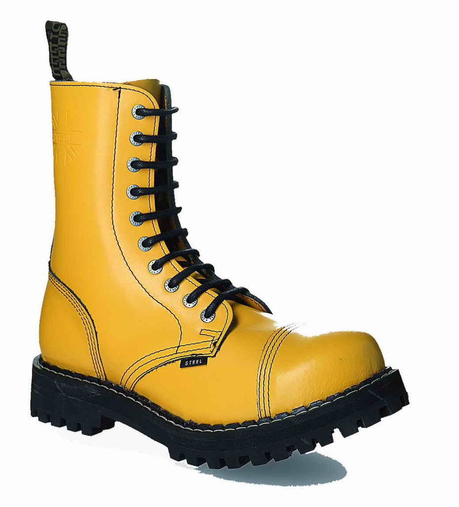 YELLOW 10-eyelet Boots Steel Toe