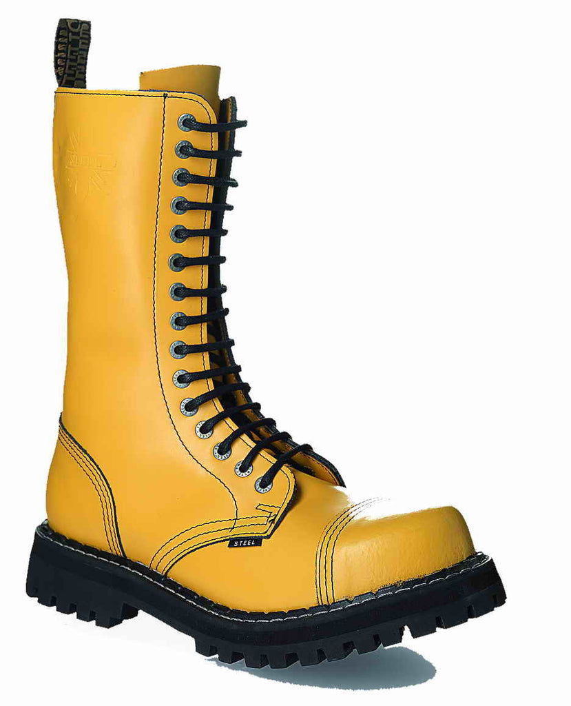 YELLOW 15-eyelet Boots Steel Toe