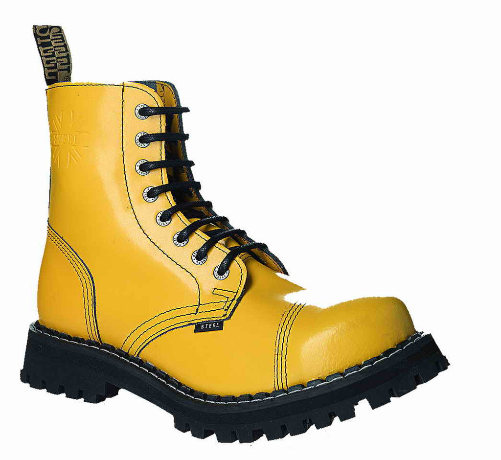 YELLOW 8-eyelet Boots Steel Toe