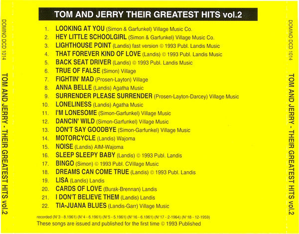 TOM AND JERRY (Early Simon & Garfunkel) - THEIR GREATEST HITS 2 ULTRA RARE Limited Edition CD