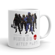 White ceramic coffee mug, Operation Nimrod, SAS, Special Forces, British Army, novelty, fun, after party, action man, gi joe, action figure.