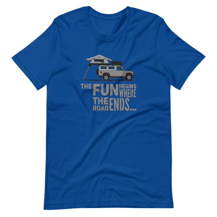 Blue T-Shirt, Defender 110, The fun begins where the road ends, Landy T-Shirt