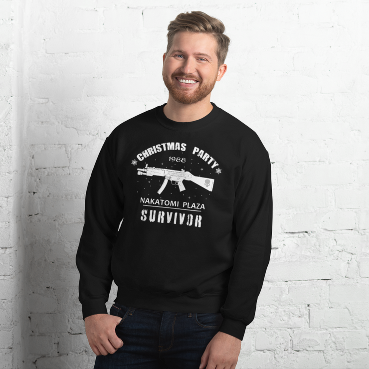 Men's black sweatshirt, Die Hard Nakatomi Plaza Christmas, Xmas party, Survivors party, fun, novelty.
