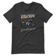 dark grey t-shirt, the great escape triumph ducati scrambler bike motorbike rider retro movie steve mcqueen