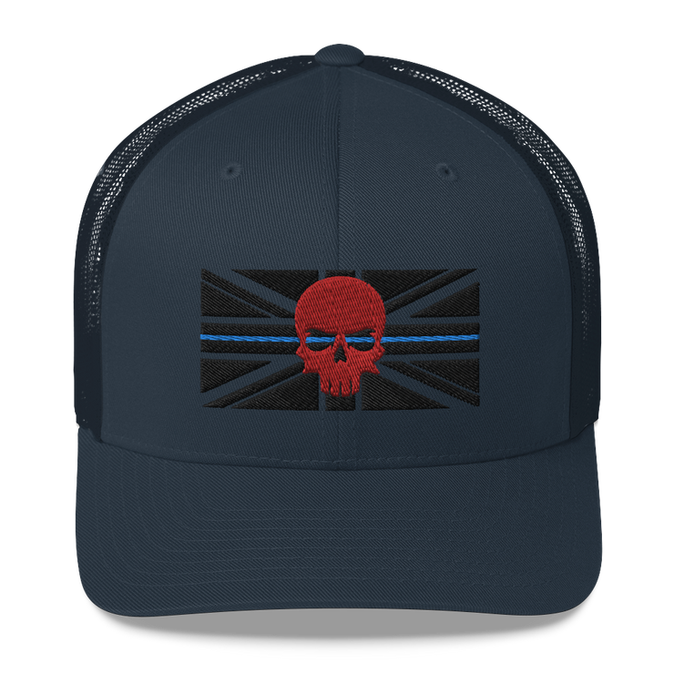 Navy blue trucker cap, thin blue line black embroidered union jack flag, red zero fux 3d skull police lives matter, 999, emergency services clothing, apparel hats, caps, hoody muscle vest