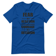 Navy Blue T-SHirt, Winston Churchill, Fear is a reaction, courage is a decision logo, zero-fux