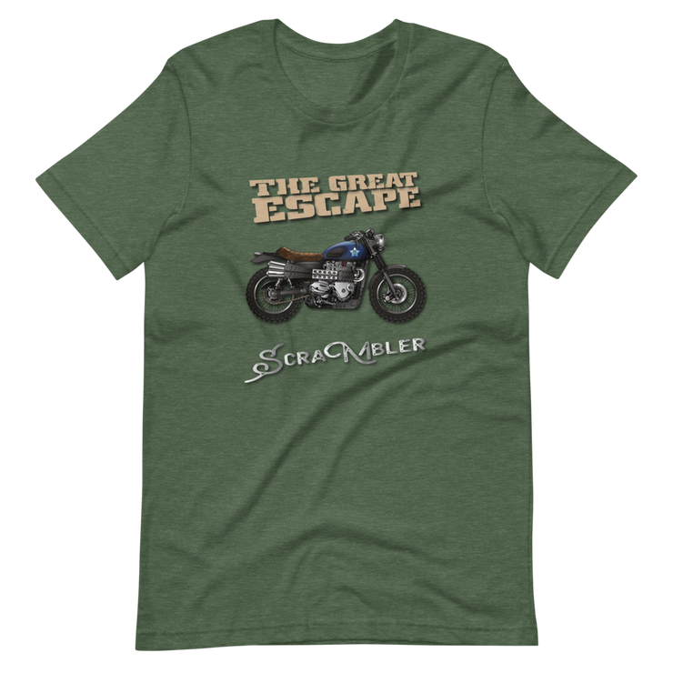 Olive green t-shirt, the great escape Triumph scrambler bike, Ducati Scrambler, motorbike rider retro movie steve mcqueen