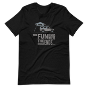 Land Rover Defender 110 Black  T-shirt, The fun begins where the road ends