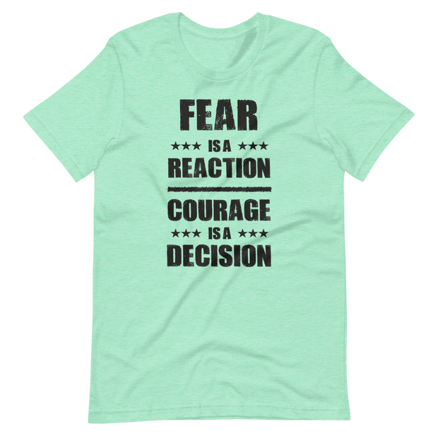Mint green, light green, Churchill T-Shirt Fear is a reaction, courage is a decision, Zero Fux Gvn