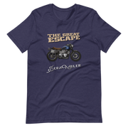 navy t-shirt, the great escape triumph ducati scrambler bike motorbike rider retro movie steve mcqueen