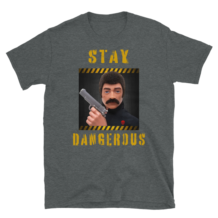 Dark grey, Action Man, GI Joe T-Shirt, 70's action figure, stay dangerous, hand gun owner, classic toys