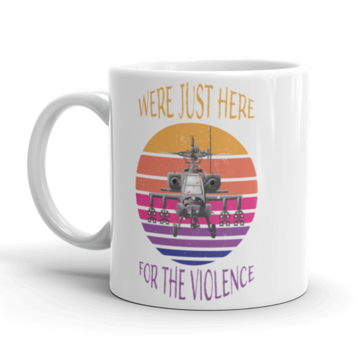 White Coffee Mug, apache helicopter, sunset, here for the violence, military, army