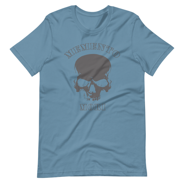 Light Blue T-Shirt, Memento Mori, Skull Crossbones, Death one step behind