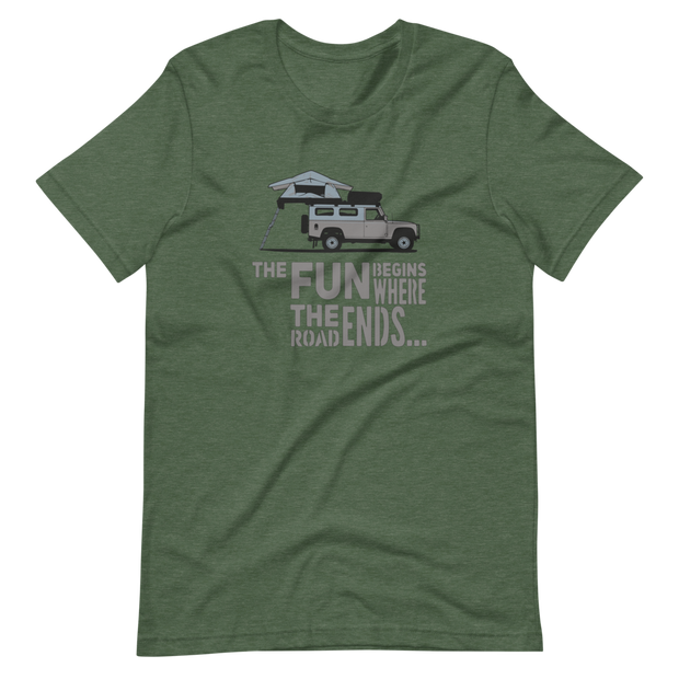 Olive Green  Defender T-Shirt, Defender 110, The fun begins where the road ends, Landy T-Shirt