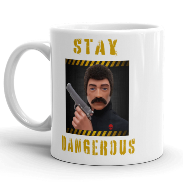 white ceramic, coffee mug, action man, gi joe ,70's action figure, retro toys, gun owner, handgun owner