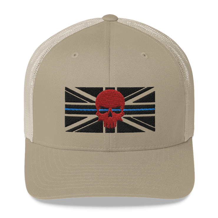 Khaki, Tan, Desert trucker cap, thin blue line black embroidered union jack flag, red zero fux 3d skull police lives matter, 999, emergency services clothing, apparel hats, caps, hoody muscle vest
