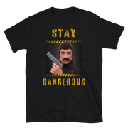 Black, Action Man, GI Joe T-Shirt, 70's action figure, stay dangerous, hand gun owner, classic toys