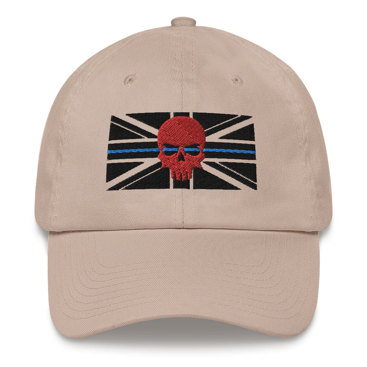 Tan baseball cap, thin blue line black embroidered union jack flag, red zero fux 3d skull police lives matter, 999, emergency services clothing, apparel hats, caps