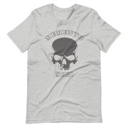 Grey, Gray T-Shirt, Memento Mori, Skull Crossbones, Pirate Zero-Fux, death design