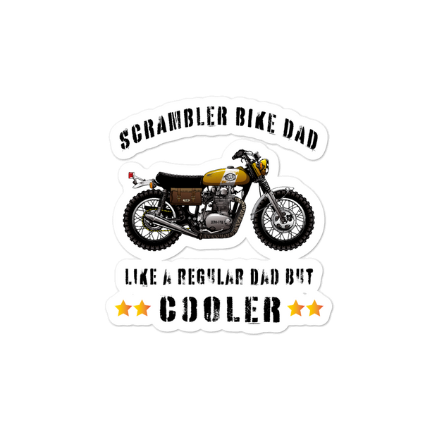 Scrambler motorbike rider motorcycle bumper sticker, cool dad, retro bike classic motorbike