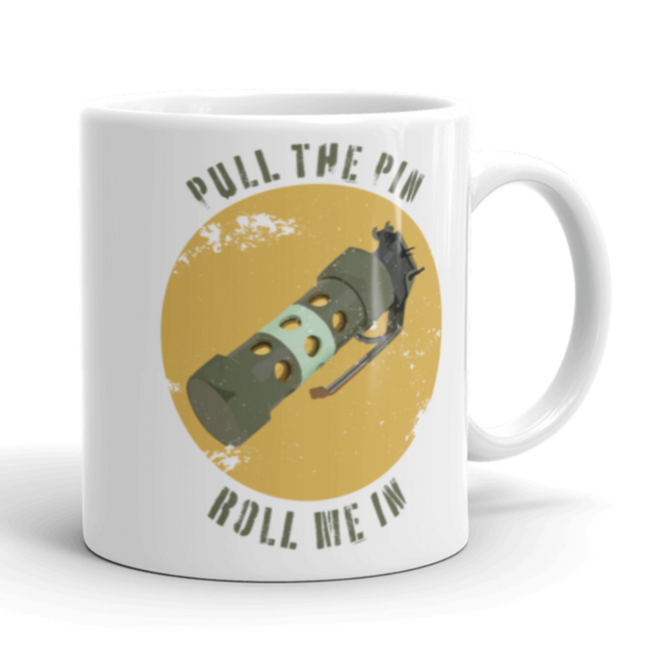 White ceramic coffee mug, Flash grenade, stun grenade, flash bang, multi bang, pull the pin, roll me in, military, army, door kickers