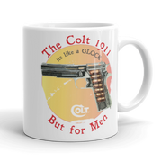 white ceramic coffee mug colt 1911 handgun glock handgun, gun owner handgun owner airsoft gun