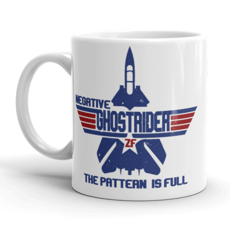 White ceramic coffee mug top gun negative ghostrider, military aircraft, pattern is full, classic film, tom cruise
