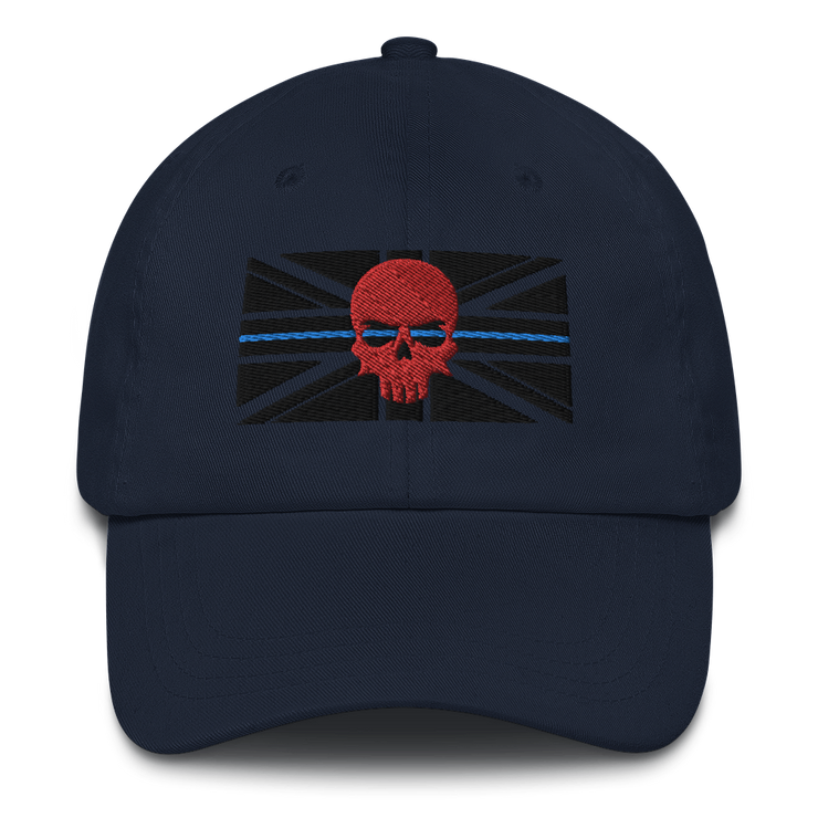 Navy blue baseball cap, thin blue line black  embroidered union jack flag, red zero fux 3d skull police lives matter, 999, emergency services clothing, apparel hats, caps