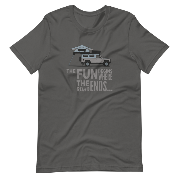 Defender 110 T-Shirt, Camping, Adventure, 4x4 Defender 110, The fun begins where the road ends, Landy T-Shirt