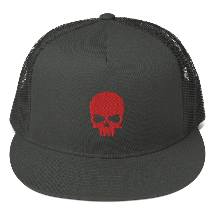 Grey, Charcoal Baseball cap, Snap back with Red Zero-Fux Skull