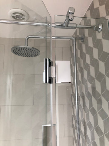 T section support bar for glass shower enclosures