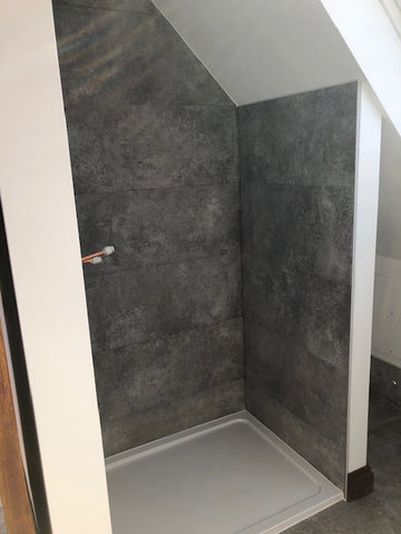 Opening space for shower glass door and fixed panel