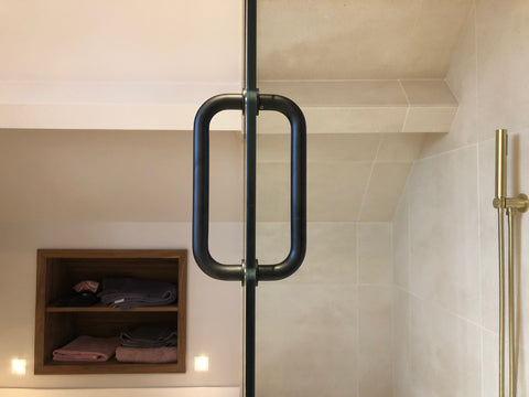 "Matte black 8"" pull handle for shower door"