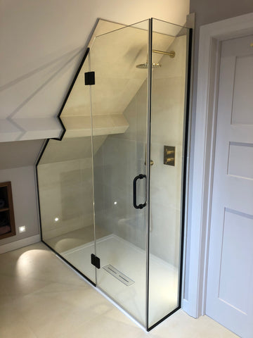 Bespoke shower enclosure for sloped ceiling