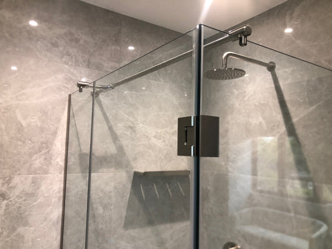 Made to measure shower enclosure for return in Brushed Nickel