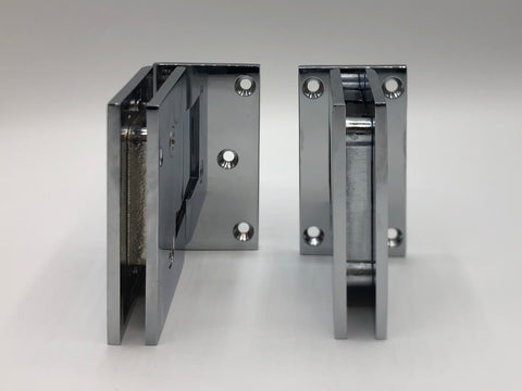 Offset and inline back plate wall to glass shower door hinges in Chrome